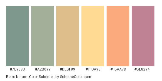 Retro Nature - Color scheme palette thumbnail - #7E988D #A2B099 #DEBF89 #FFDA93 #FBAA7D #BE8294