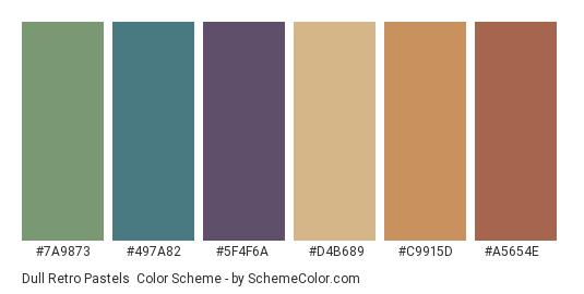 Dull Retro Pastels - Color scheme palette thumbnail - #7a9873 #497a82 #5f4f6a #d4b689 #c9915d #a5654e