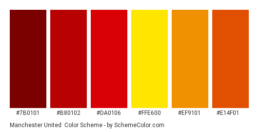 Manchester United Color Scheme Brand And Logo Schemecolor Com