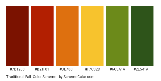 Traditional Fall - Color scheme palette thumbnail - #7b1200 #b21f01 #de700f #f7c32d #6c8a1a #2e541a