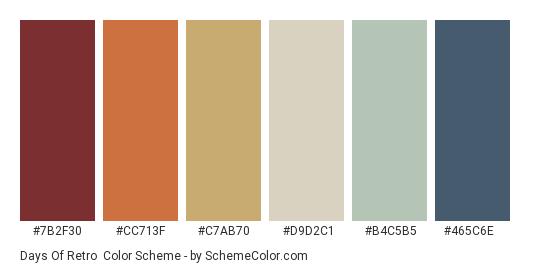 Days of Retro - Color scheme palette thumbnail - #7b2f30 #cc713f #c7ab70 #d9d2c1 #b4c5b5 #465c6e