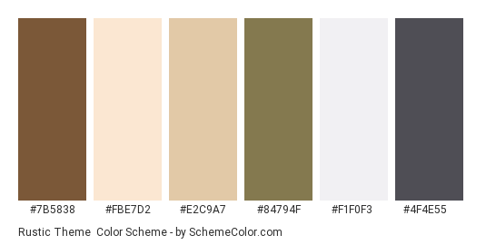 Rustic Theme - Color scheme palette thumbnail - #7b5838 #fbe7d2 #e2c9a7 #84794f #f1f0f3 #4f4e55
