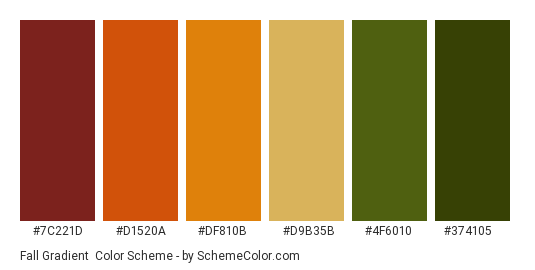 Fall Gradient - Color scheme palette thumbnail - #7c221d #d1520a #df810b #d9b35b #4f6010 #374105
