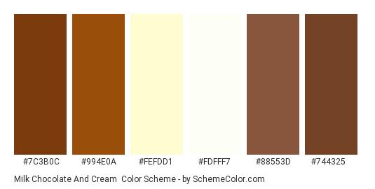 Milk Chocolate And Cream Color Scheme Palette Thumbnail 7c3b0c 994e0a Fefdd1
