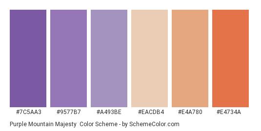 Purple Mountain Majesty - Color scheme palette thumbnail - #7c5aa3 #9577b7 #a493be #eacdb4 #e4a780 #e4734a