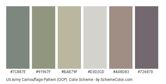 US Army Camouflage Pattern (OCP) - Color scheme palette thumbnail - #7c887e #91967f #bab79f #d3d2cd #a08d83 #726870