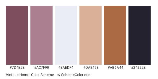 Vintage Home - Color scheme palette thumbnail - #7d4e5e #ac7f90 #eaedf4 #dab198 #ab6a44 #24222e