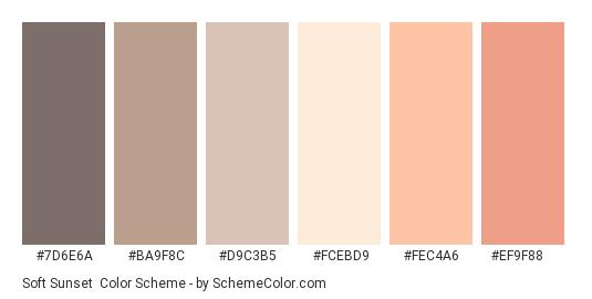 Soft Sunset - Color scheme palette thumbnail - #7d6e6a #ba9f8c #d9c3b5 #fcebd9 #fec4a6 #ef9f88