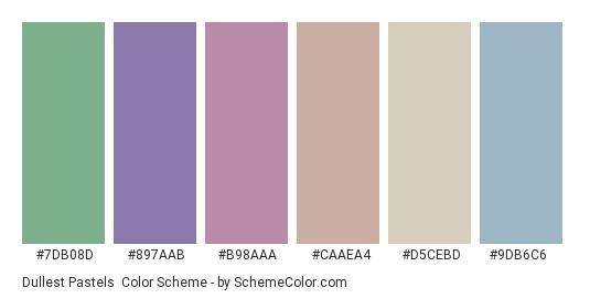 Dullest Pastels - Color scheme palette thumbnail - #7db08d #897aab #b98aaa #caaea4 #d5cebd #9db6c6