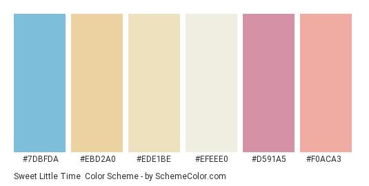 Sweet Little Time - Color scheme palette thumbnail - #7dbfda #ebd2a0 #ede1be #efeee0 #d591a5 #f0aca3