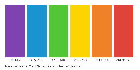 Rainbow Jingle - Color scheme palette thumbnail - #7e43b1 #1a94d0 #53c638 #fcd500 #ef8228 #de4439