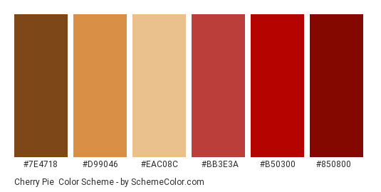 Cherry Pie - Color scheme palette thumbnail - #7e4718 #d99046 #eac08c #bb3e3a #b50300 #850800