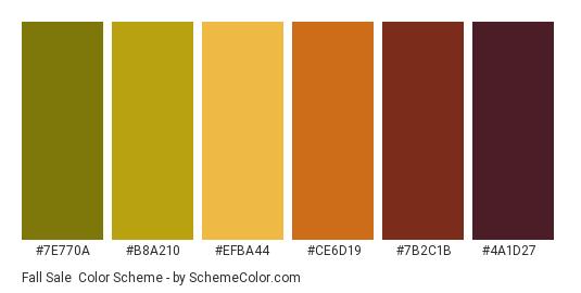 Fall Sale - Color scheme palette thumbnail - #7e770a #b8a210 #efba44 #ce6d19 #7b2c1b #4a1d27