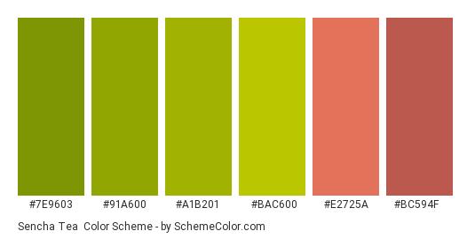 Sencha Tea Color Scheme Palette Thumbnail 7e9603 91a600 A1b201 Bac600