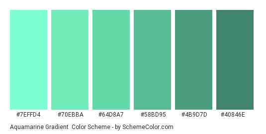 Aquamarine Gradient - Color scheme palette thumbnail - #7effd4 #70ebba #64d8a7 #58bd95 #4b9d7d #40846e