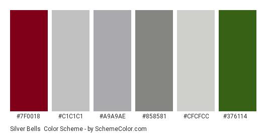 Silver Bells - Color scheme palette thumbnail - #7f0018 #c1c1c1 #a9a9ae #858581 #cfcfcc #376114