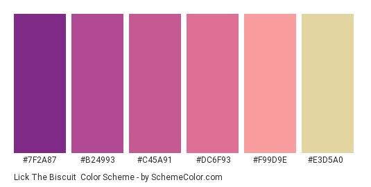 Lick the Biscuit - Color scheme palette thumbnail - #7f2a87 #b24993 #c45a91 #dc6f93 #f99d9e #e3d5a0