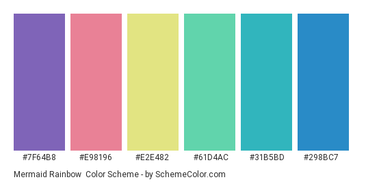 Mermaid Rainbow - Color scheme palette thumbnail - #7f64b8 #e98196 #e2e482 #61d4ac #31b5bd #298bc7