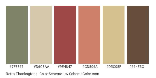 Retro Thanksgiving - Color scheme palette thumbnail - #7f8367 #d6c8aa #9e4847 #cd806a #d5c08f #664e3c