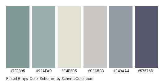 Pastel Grays - Color scheme palette thumbnail - #7f9895 #99afad #e4e2d5 #c9c5c3 #949aa4 #57576d