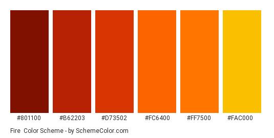 Fire - Color scheme palette thumbnail - #801100 #b62203 #d73502 #fc6400 #ff7500 #fac000
