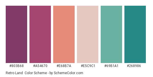 Retro Land - Color scheme palette thumbnail - #803b68 #a54670 #e68b7a #e5c9c1 #69b1a1 #268986