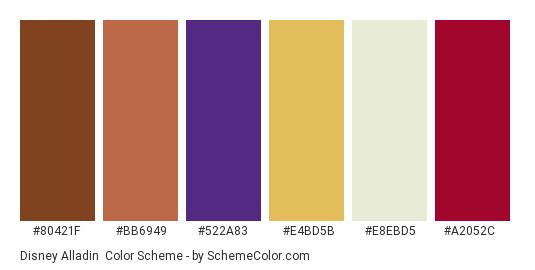 Disney Alladin - Color scheme palette thumbnail - #80421f #bb6949 #522a83 #e4bd5b #e8ebd5 #a2052c