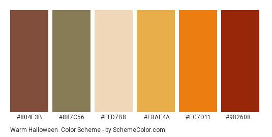 Warm Halloween - Color scheme palette thumbnail - #804e3b #887c56 #efd7b8 #e8ae4a #ec7d11 #982608