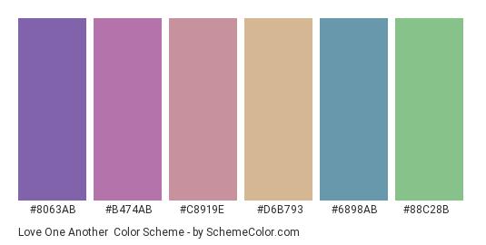 Love One Another - Color scheme palette thumbnail - #8063ab #b474ab #c8919e #d6b793 #6898ab #88c28b