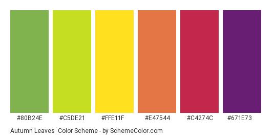 Autumn Leaves - Color scheme palette thumbnail - #80B24E #C5DE21 #FFE11F #E47544 #C4274C #671E73