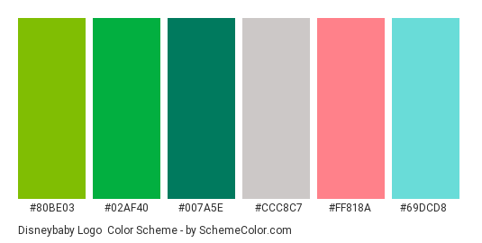 Disneybaby Logo - Color scheme palette thumbnail - #80be03 #02af40 #007a5e #ccc8c7 #ff818a #69dcd8