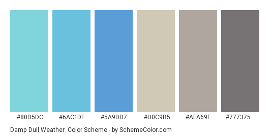 Damp Dull Weather - Color scheme palette thumbnail - #80d5dc #6ac1de #5a9dd7 #d0c9b5 #afa69f #777375