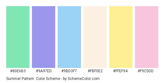 Summer Pattern - Color scheme palette thumbnail - #80e6b3 #9a97ed #9bd3f7 #fbf0e2 #ffef94 #f9c5dd