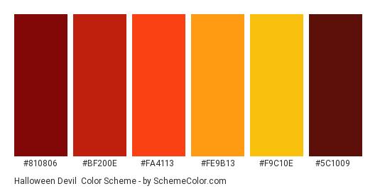 Halloween Devil - Color scheme palette thumbnail - #810806 #bf200e #fa4113 #fe9b13 #f9c10e #5c1009