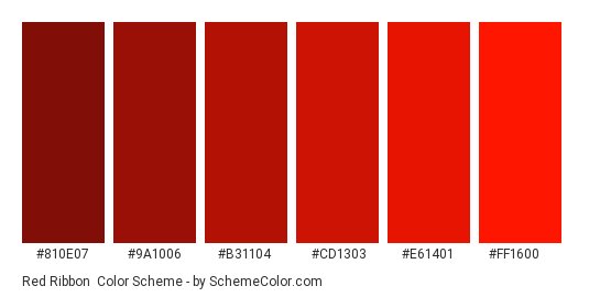 Red Ribbon - Color scheme palette thumbnail - #810e07 #9a1006 #b31104 #cd1303 #e61401 #ff1600