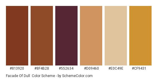 Facade of Dull - Color scheme palette thumbnail - #813920 #8f4b28 #552634 #d09460 #e0c49e #cf9431
