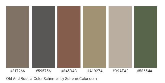 Old and Rustic - Color scheme palette thumbnail - #817266 #595756 #845d4c #a19274 #b9aea0 #58654a