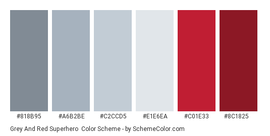 Grey and Red Superhero - Color scheme palette thumbnail - #818b95 #a6b2be #c2ccd5 #e1e6ea #c01e33 #8c1825