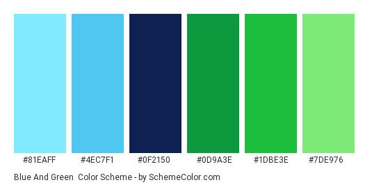 Blue and Green - Color scheme palette thumbnail - #81EAFF #4EC7F1 #0F2150 #0D9A3E #1DBE3E #7DE976