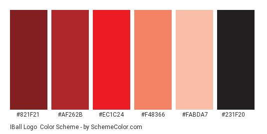 iBall Logo - Color scheme palette thumbnail - #821F21 #AF262B #EC1C24 #F48366 #FABDA7 #231F20