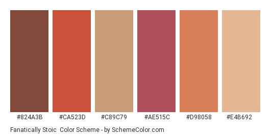 Fanatically Stoic - Color scheme palette thumbnail - #824a3b #ca523d #c89c79 #ae515c #d98058 #e4b692