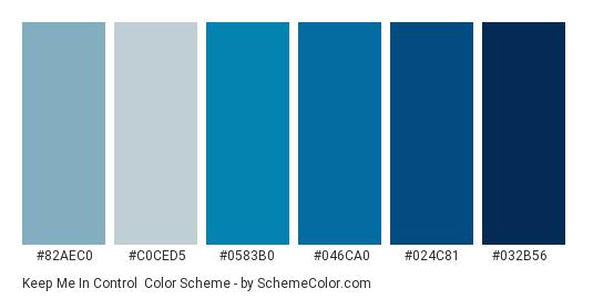 Keep Me in Control - Color scheme palette thumbnail - #82aec0 #c0ced5 #0583b0 #046ca0 #024c81 #032b56
