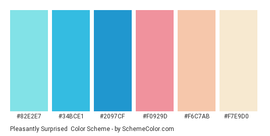 Pleasantly Surprised - Color scheme palette thumbnail - #82e2e7 #34bce1 #2097cf #f0929d #f6c7ab #f7e9d0