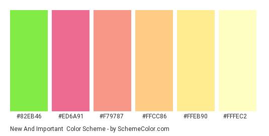 New and Important - Color scheme palette thumbnail - #82eb46 #ed6a91 #f79787 #ffcc86 #ffeb90 #fffec2
