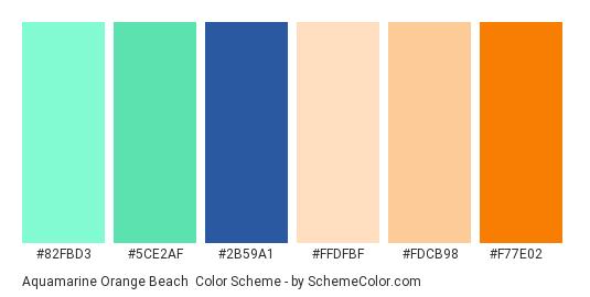 Aquamarine Orange Beach - Color scheme palette thumbnail - #82fbd3 #5ce2af #2b59a1 #ffdfbf #fdcb98 #f77e02