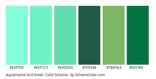 Aquamarine and Green - Color scheme palette thumbnail - #82ffd8 #6ef1c3 #60ddac #1f5948 #7bb964 #007441