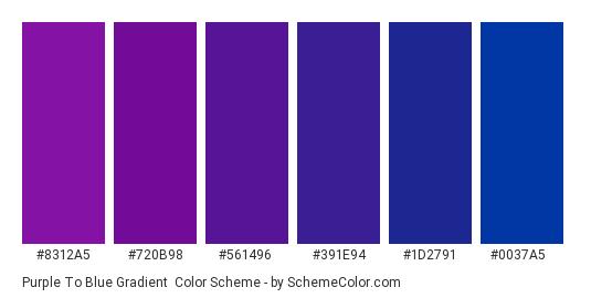 Purple to Blue Gradient - Color scheme palette thumbnail - #8312A5 #720B98 #561496 #391E94 #1D2791 #0037A5