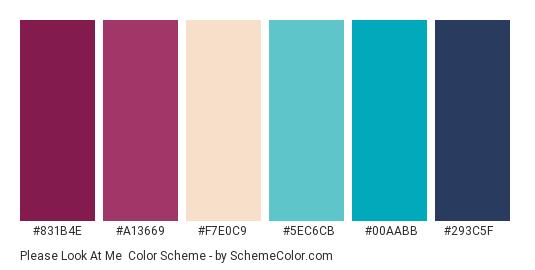 Please Look at Me - Color scheme palette thumbnail - #831b4e #a13669 #f7e0c9 #5ec6cb #00aabb #293c5f
