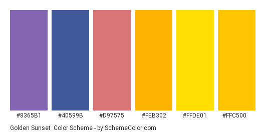 Golden Sunset - Color scheme palette thumbnail - #8365b1 #40599b #d97575 #FeB302 #ffde01 #ffc500