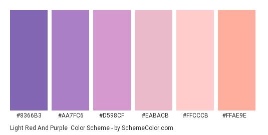 Light Red and Purple - Color scheme palette thumbnail - #8366b3 #aa7fc6 #d598cf #eabacb #ffcccb #ffae9e